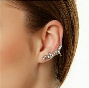 Cluster Ear Cuff plus Crystal Stud Earring